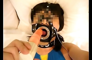japanese crossdresser swimswit mouth gag1
