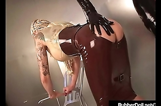 RubberDoll &amp_ Rubber Painted Lady Spank Ass Checks In Latex!