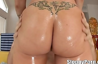 Busty and oiled Candy Manson wet anal sex