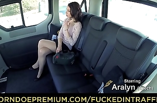FUCKED IN TRAFFIC - Czech redhead babe Aralyn gets banged by taxi driver