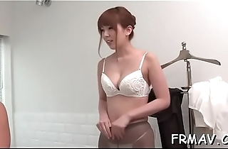 Beautiful japanese tackles a pulsating dick on every side her mouth