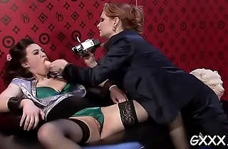 Beautiful lesbo engages in some sexy kissing added to dildo play