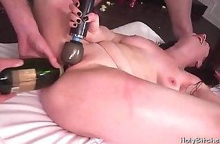 Horny housewife decided to have a gangbang