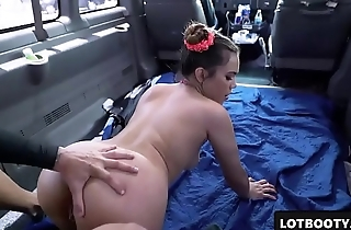 Sexy big ass asian brunette gets fucked in the car for money