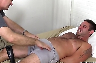 Freaky pervert loves to tickle and twit hairy tied up stud