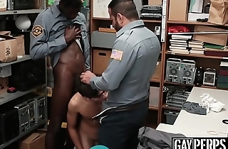 Thieving twink cums hard after police interracial threesome