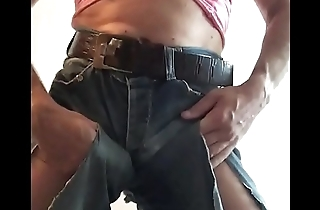Jerking my cock in Ravelled jeans
