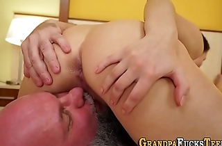 Teen sucks old pervert