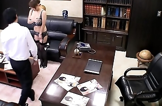 Asian MILF undressing at the office