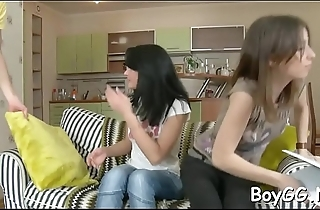 Two girls and one man are having a great time together
