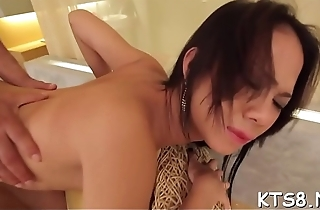 After sucking cock the lady-man slut jumps on it with her ass