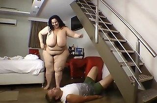 Body Trampling SSBBW Slave Guy Crushed
