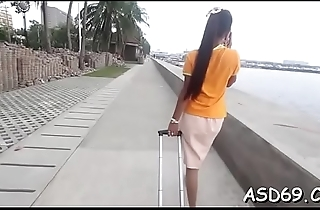 Talented asian beauty sucks a schlong and grinds on rosiness hard