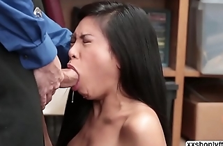 Asian Shoplifter Ember caught and fuck
