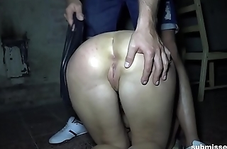Blonde sub gets dragged out of her cage for some punishment