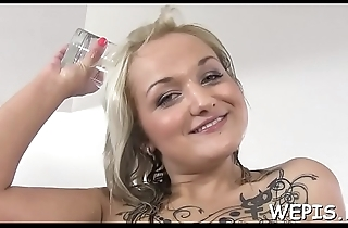 Honey is pissing while she is riding detect of her boyfriend