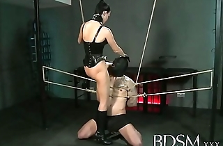 bdsm xxx slave boy gets tied up together with receives hardcore sex