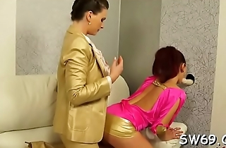 Hottie gets hairless pussy permeated at gloryhole with a toy