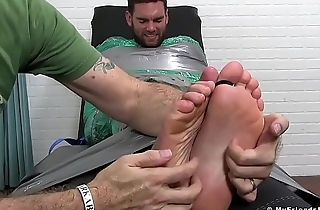 Strapped cuties feet endure merciless tickling with mistress