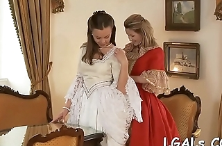 Two charming and naughty lesbo teenies lick and finger on cam