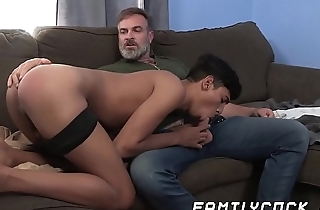 Young cheerful latino cums hard breeding with hairy stepdaddy