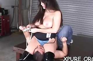 Athletic sweetheart smothering and facesitting on inferior man