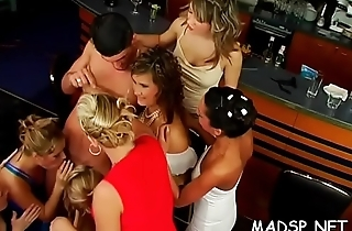 Immodest group banging with young women switching partners