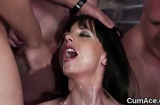 Feisty babe gets cumshot on the brush face gulping all the charge
